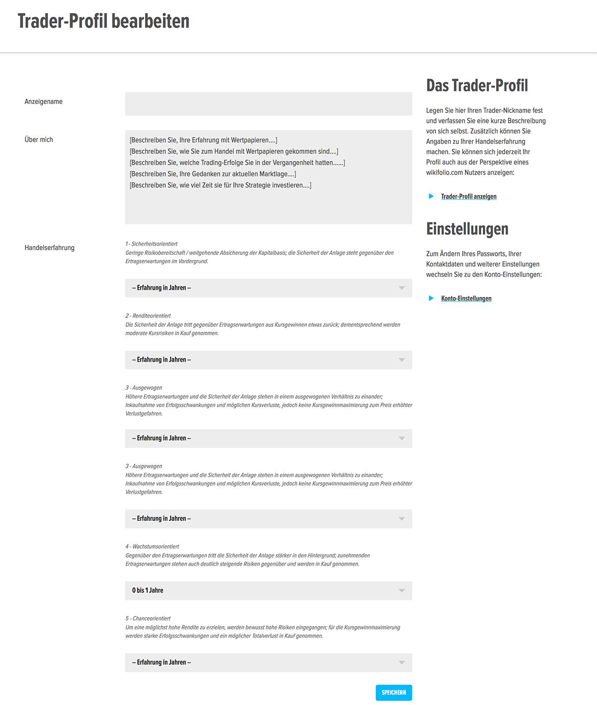 Das Traderprofil auf wikifolio.com