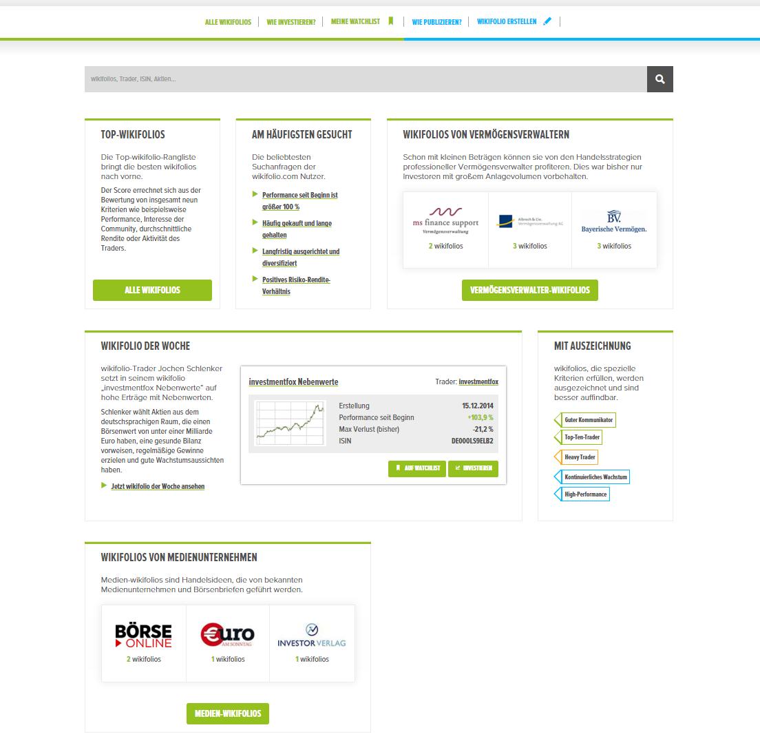 Screenshot Relaunch wikifolio.com Suchübersicht