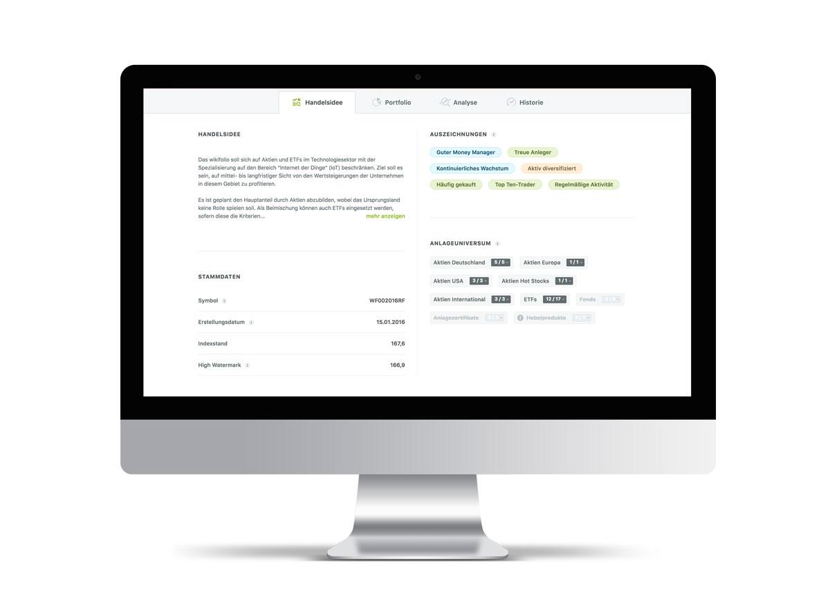 Die neue wikifolio-Detailseite mit allen Details zum wikifolio