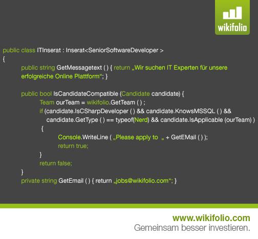 wikifolio.com sucht Developer